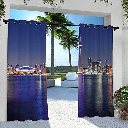 Patio Curtain Canada Toronto Sunset over the Lake Panorama Urban City Skyline with Night Lights Thermal Insulated, Sun Blocking Blackout Curtains for Front Porch/Garden Blue Pink W72 x L96 Inch
