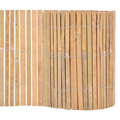 vidaXL Gartenzaun Beetumrandung Beeteinfassung Rasenkante Mähkante Bambuszaun Dekozaun Rasenbegrenzung Garten Bambus 1000×30cm Natur