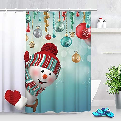 Stacy Fay Duschvorhang Happy Snowman Peekaboo and Balls Winter Holiday Merry Christmas Wasserdicht Polyester Stoff Badvorhang 177 cm mit Haken