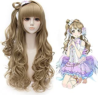 GOOACTION 70cm/27.5 inch Women Long Anime Curly Wavy Flaxen Brown Wig with Flat Bangs for Love Live Minami Kotori Cosplay ...