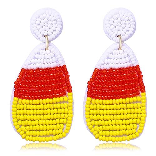 Halloween Earrings Handmade Black Witch Hat Candy Corn Beaded Drop Dangle Earrings Studs for Women Girls Halloween Cosplay Costume Party Jewelry Gifts