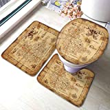 HOSNYE Map 3 Pieces Bathroom Rug Set Treasure Map and Pirate Emblem Sailboat Compass on a Ruined Old Parchment Bath Mat U-Shaped Contour Rug Floor Mat and Toilet Lid Cover