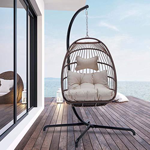 Swing Egg Chair with Stand Indoor Outdoor Wicker Rattan Patio Basket