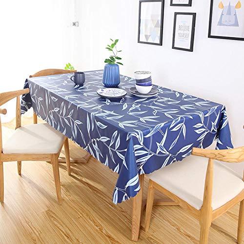 Dthlay PVC tafelkleed voor tuintafel, salontafel, tafelkleed, blauw, eenvoudige druk