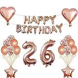 """26. Geburtstags dekorationen set: 13 x Rose Gold """"Happy Birthday"""" Banner, 2 x 18'' Liebe Herz Folienballons, 2 x 18'' Star Folienballons, 2 × 32'' Digital """"26"""" Folienballons, 6 x 12'' Konfetti Ballons, 6 x 12'' Rose Gold Latex Ballons, 1 x Band, 1 x ..."""
