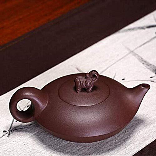 JHSHENGSHI Teekanne Teekessel 180 ml Elefant Yixing Teekanne Handgemachte Zisha Teekanne Lila Ton Kessel Anzug Krawatte Gaunyin Black Puer Tee