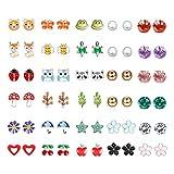 Finrezio 30 Paires Boucles d'Oreille en Acier Inoxydable pour Filles Enfants Animaux Mignons Coeur Étoile Fleur Arbre