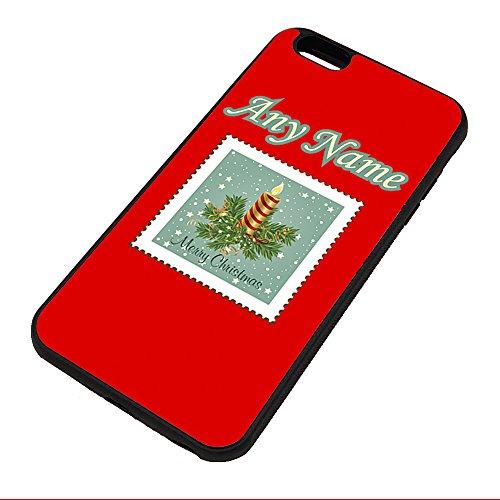 UNIGIFT gepersonaliseerd cadeau - kaars stempel iPhone hoesje (vrolijk kerstontwerp kleur) Naam bericht unieke Apple TPU Cover