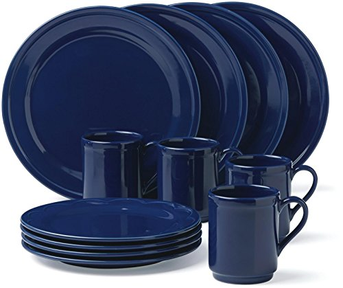 KSNY All in Good Taste Scallop Dw Set, Navy, 12 Piece