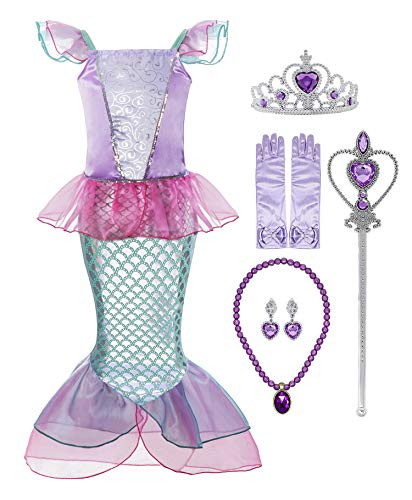 Padete Little Girl Mermaid Princess Costume Sequins Party Dress (5-6 Years, Pink with Accessories)
