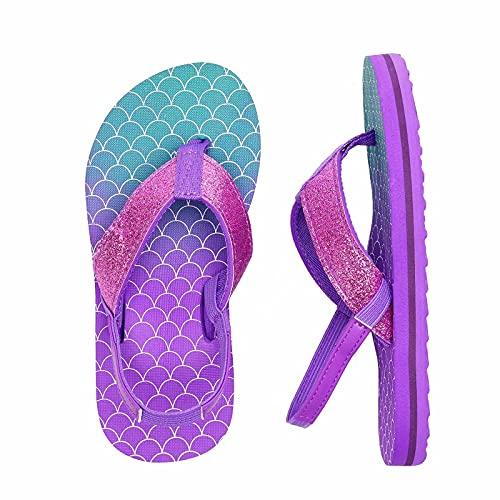 Kinder Badelatschen Flip Flops Jungen Mädchen Badeschuh Zehentrenner Sandalen Kleinkind Hausschuhe mit Rückenband für Sommer und Strand(YL Pink Violett,30/31 EU)