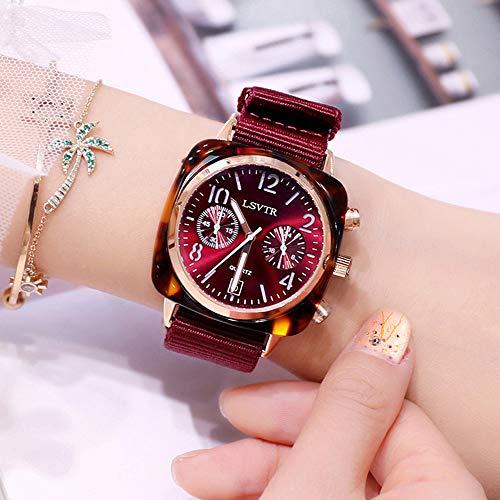 SYXW Populares Nuevo Reloj Femenino Versión Coreana De La Moda De La Lona Reloj del Dial De Red Rojo,Winered
