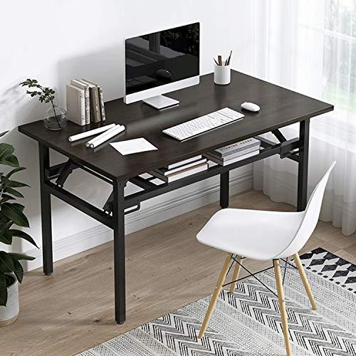 Insputer Klappbarer Laptoptisch, Studenten-Schreibtisch, 80 x 40 x 75 cm, kein Zusammenbau erforderlich, schwarzer Klapptisch mit verstellbaren Beinen für Zuhause, Büro, Schule