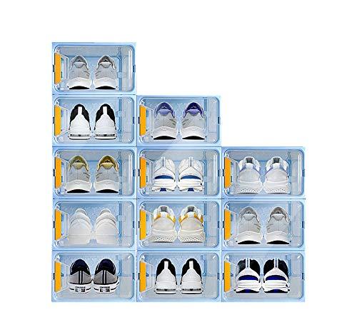Shoe Storage Shoe Boxe Clear Stackable Shoe Container Closet Entryway Organizer 12 pack (blue)