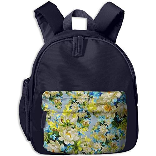XCNGG Mochila para niños Mochila para niños Bolsos para niños Lightweight Kids Preschool Backpacks White Flowers Painting Printed Bookbag For Girl