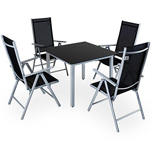 Deuba Sitzgruppe Bern 4+1 Aluminium 7-Fach verstellbare Hochlehner Stühle Tisch mit Sicherheitsglas Silber Garten Set