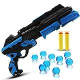 BEETEST 2 en 1 niños plástico espuma suave Dart Gun pistola tiros juego agua cristalina bala de juguete Azul