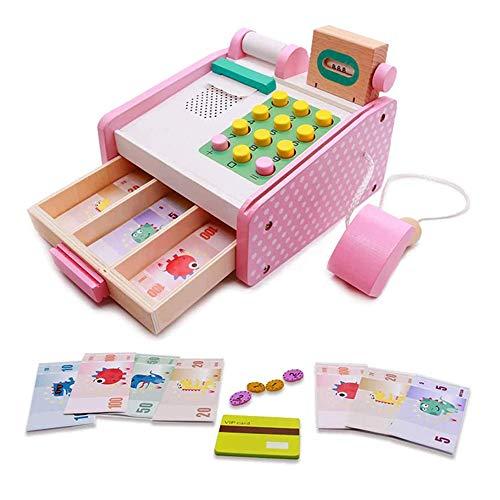 HGYYIO Holz Kasse, Kinder Lernen Bildung, Kasse Spielzeug Rollenspiel, Elektronische Kasse Spielzeug, Geeignet für Kinder über 3 Jahre