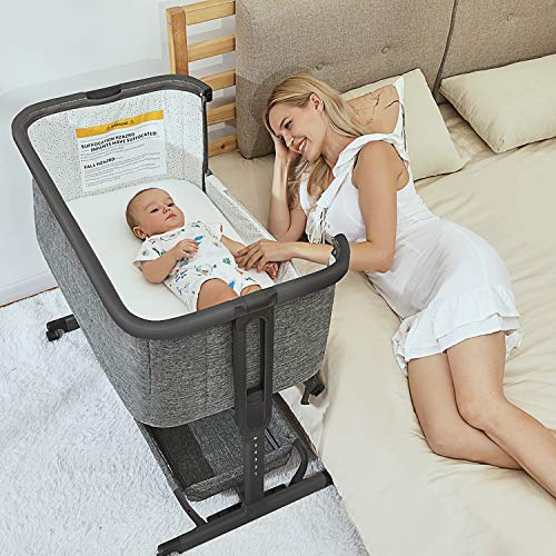 3 in 1 Baby Bassinets,Bedside Sleeper for Baby, Baby Crib with Storage Basket for Newborn, Easy Folding Bassinet for Baby and Safe Co-Sleeping,Adjustable Portable Baby Bed,Travel Bag Included