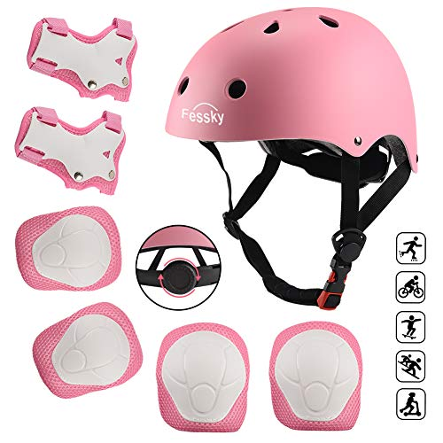 FESSKY Kids Bike Helmet Pad Set, 7 in 1 Protective Gear Adjustable Strap Knee Pads and Elbow Pads with Wrist Guard for Skating Cycling Rollerblading Scooter (Pink)