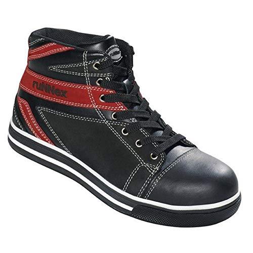 ruNNex Chuck Sicherheitsschuhe/Arbeitsschuhe S3, Hochschuh, schwarz/rot, EN ISO 20345:A 1 2007, S 3 (schwarz-rot, 38)