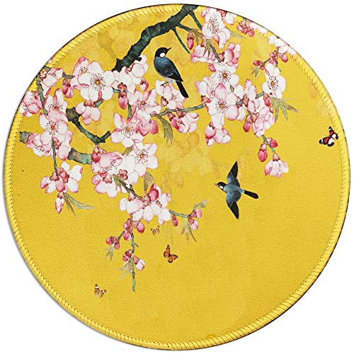 BOSOBO Mouse Pad, Full of Spring Peach Blossom Round Mousepad, Customized Gaming Mouse Mat for Laptop, Computer & PC, Durable Stitched Edges, Non-Slip Rubber Base, Enhanced Thickness, Waterproof