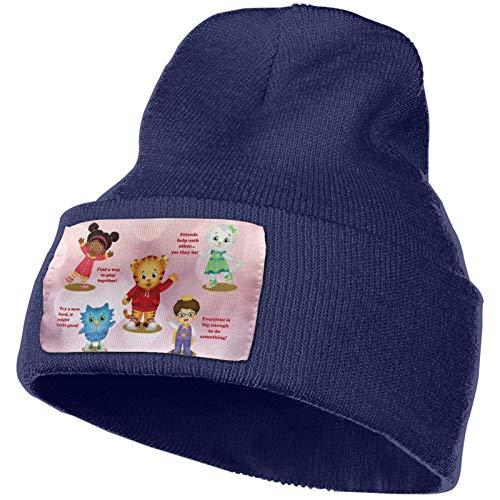 Daniel Tiger's Neighborhood Winter Beanie Hip Hop Hat Crochet Hair Ball Knitted Hat Navy