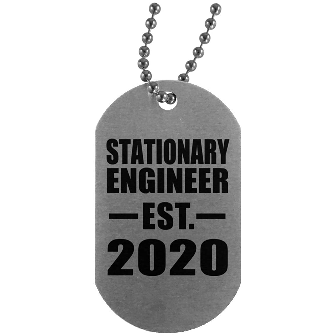 Stationary Engineer Established EST. 2020 - Silver Dog Tag Military ID Pendant Necklace Chain - Gift for Friend Colleague Retirement Graduation Mother's Father's Day Birthday Anniversary