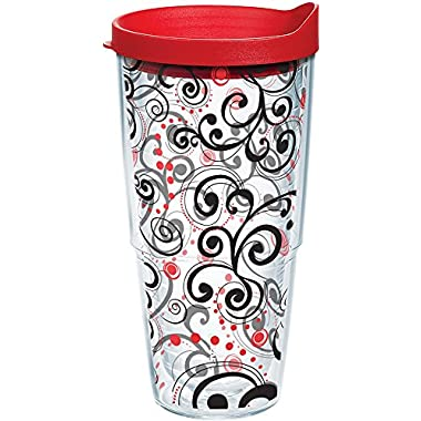Tervis 1166111 Berry Swirlwind Tumbler with Wrap and Red Lid 24oz, Clear