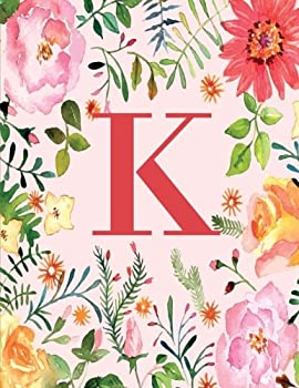 Paperback K: Monogram Initial K Notebook for Women, Girls and School, Pink Floral 8.5 x 11 Book