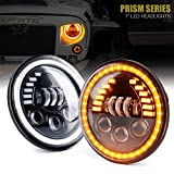 Xprite 7' Inch 85W LED Headlights Compatible with Jeep Wrangler JK TJ LJ 1997-2018, w/ DRL, High/Low Beam,and Amber Turn Signal Halo Lights (DOT Approved)