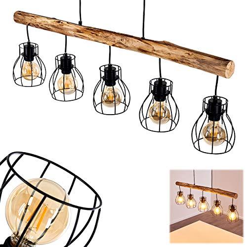 Pendelleuchte Gondo, Hängelampe aus Metall/Holz in Schwarz/Braun, 5-flammig, 5 x E27 max. 40 Watt, moderne Hängeleuchte geeignet für LED Leuchtmittel