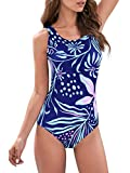 Bathing Suits for Women Sporty Womans Bathing Suit Womens Slimming Swimsuit Athletic One Piece Teens Girls Blue-Floral 14-16