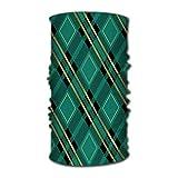 Yxungdiy hombres y mujeres Bandana cara máscara solar tartán verde textura de tela Diagonal Plaid protección Uv bufanda mágica