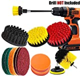 15 Pieces Drill Brush Attachments Set, IONDA Power Scrubber Cleaning Kit with Long Reach Attachment for Bathroom Shower Scrubbing, Carpet Cleaning, Tile Cleaning and Car Polishing Pad Kit