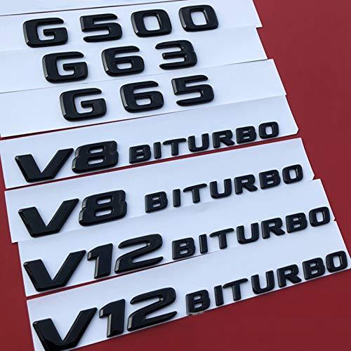 XiYon Insignia del Emblema de Letras para Mercedes Benz AMG G63 G65 G500 V8 V12 BITURBO Car Styling Trunk Fender Consola Adhesivo Negro Brillante, Negro brillanteA MG 19cm