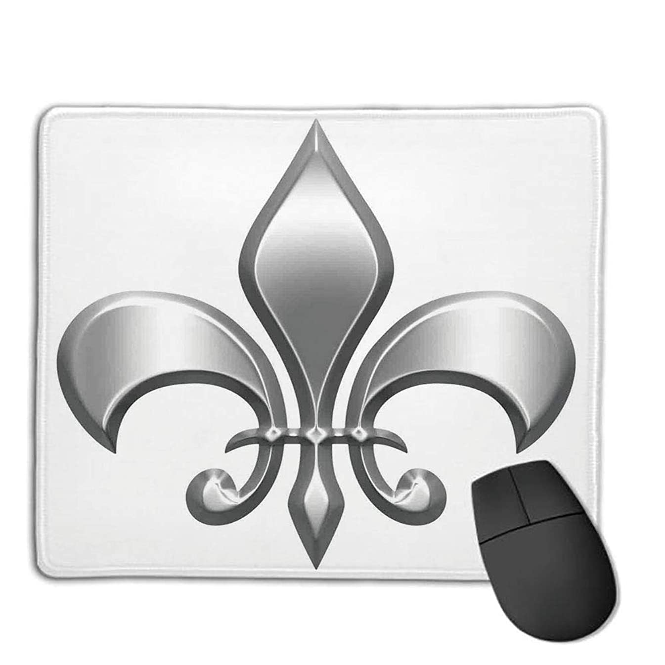 Mouse Pad,Stitched Edges, Waterproof, Ultra Thick 3mm, SilkyFleur De Lis Decor,Lily Flower Symbol Nobility of Knights in Medieval Time European Iris Icon Design,White Silver,Applies to Games,Home, s