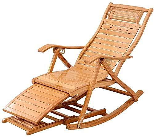 FMOGQ Silla plegable para jardín, tumbonas ajustables al aire libre, silla mecedora plegable de bambú para patio o playa, balcón, parque o camping