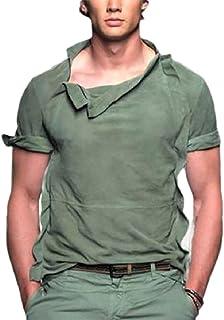 Ptyhk RG Men Summer Solid Loose Short-Sleeve Blouse Tunic-Top T Shirt