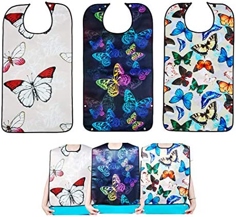 Bacaby 3 Pack Adult Bibs for Eating Butterfly Washable Reusable Clothing Protector for Elderly product image