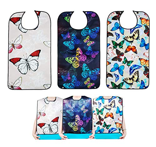 Bacaby 3 Pack Adult Bibs for Eating,Butterfly Washable Reusable Clothing Protector for Elderly Women 33.5' x 18'