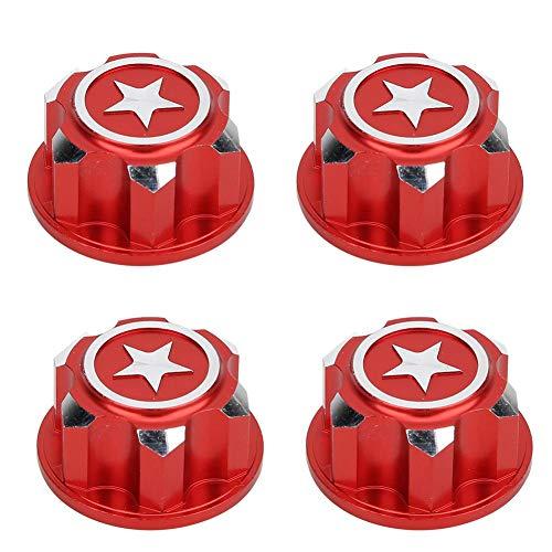 Drfeify RC Sechskant-Radmutter, 4PCS Metall 17mm Sechskant-Radbefestigungsmuttern Kompatibel mit X-MAXX Summit Traxxas RC Car(Rot)