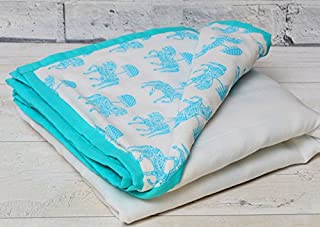 Tura Turi Cotton Muslin Baby Blanket Tugbug Ghoda Printed (Blue, 0-2 Years)