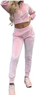 Women's Long Pants Velour Cropped 2pcs Set Fall Winter Sweatsuit