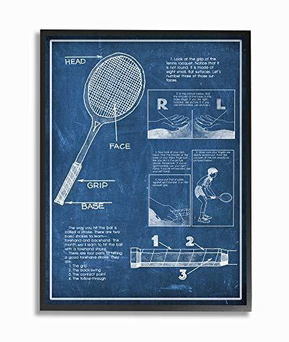 Stupell Industries Tennisschläger Blueprint Sport Design Leinwand Wandbild schwarz, gerahmt 24x30 Design von Künstler The Saturday Evening Post