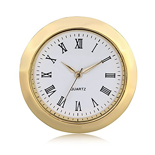 ShoppeWatch Mini Clock Insert Quartz Movement Round 1 7/16' (35mm) Miniature Clock Fit Up White Dial Gold Tone Bezel Roman Numerals CK096GD