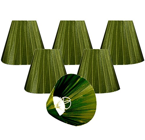 "Royal Designs CS-1015-6GRN-6 Clip On Organza Empire Chandelier Lamp Shade, 3"" x 6"" x 4.5"", Emerald Green, Set of 6"
