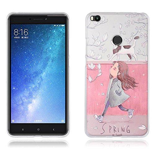 """FUBAODA Funda para Xiaomi Mi MAX 2 Carcasa Protectora de Silicona Dibujos Chica Guapa y Gato en Primavera, Carcasa Completa Resistente para para Xiaomi Mi MAX 2 (6.44"""")"""