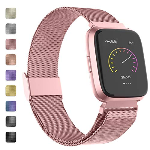 Adepoy für Fitbit Versa Armband/Fitbit Versa 2 Armband, Edelstahl Metall Ersatzarmband Kompatible mit Fitbit Versa/Versa 2 (Rose Gold, Klein)