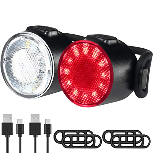 Luci Biciclette, Luci per Biciclette a LED Impermeabili, 6 Modalità di Luminosità Fanale Posteriore Anteriore, USB Ricaricabile Sicurezza Stradale per Luci Notturne di Avvertimento Set